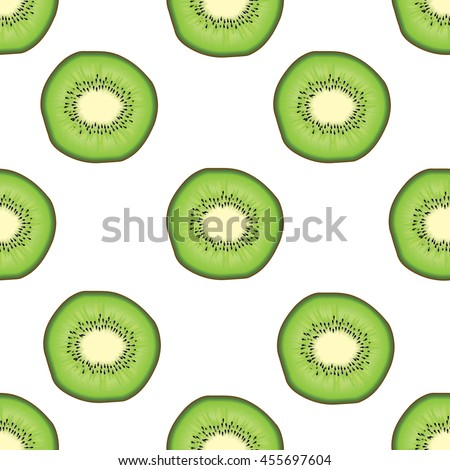 kiwi fruit seamless pattern white background