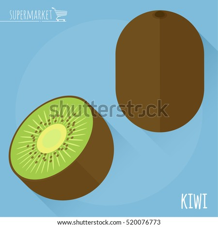 Kiwi.  Long shadow flat design vector icon.