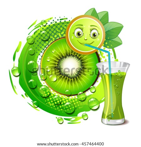 Kiwi slices with a smiley face - stock vector