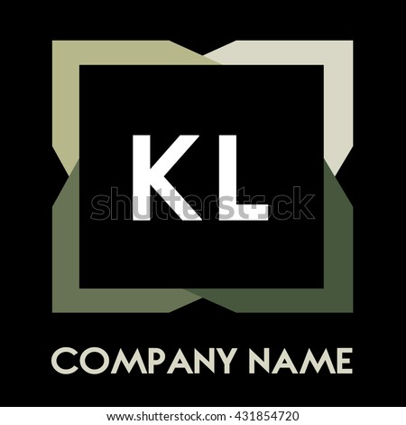 KL letters business logo creative  icon design template elements in abstract background logo, design identity in square with four colors, modern alphabet letters