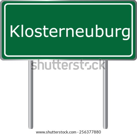 Klosterneuburg, Austria, road sign green vector illustration, road table - stock vector