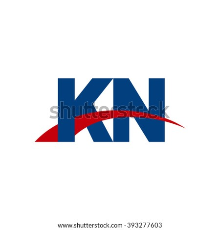 KN initial overlapping swoosh letter logo blue red
