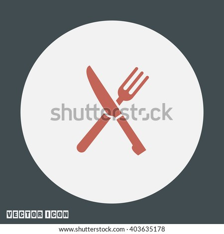 Knife and Fork vector icon - stock vector