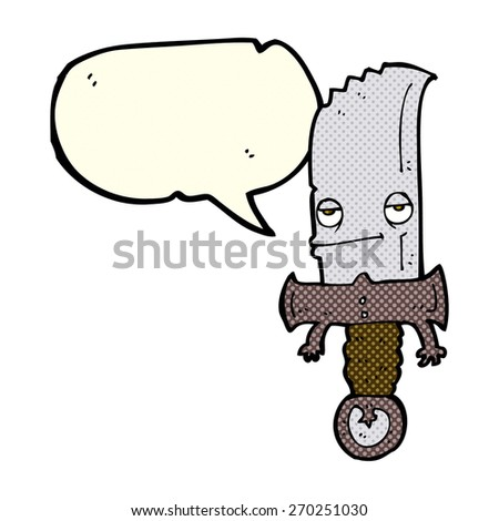 knife cartoon character with speech bubble - stock vector