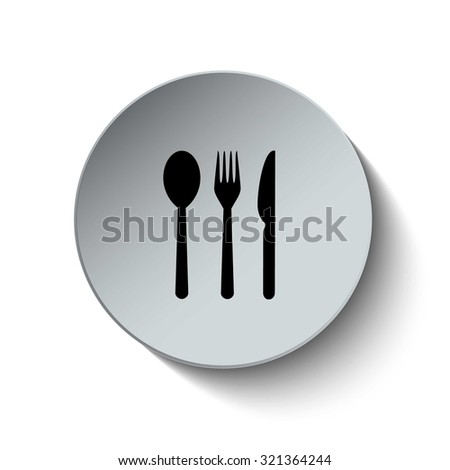 Knife, fork and spoon icon. Rounded button. Vector Illustration. EPS10 - stock vector