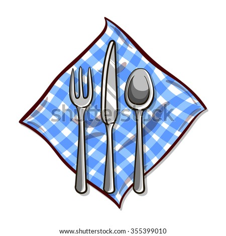 Knife, fork and spoon on  blue napkin. Vector illustration. - stock vector