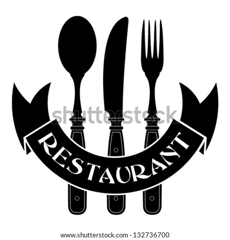 knife, fork and spoon / Restaurant Seal - stock vector