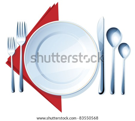 Knife, white plate, spoons and forks on white background. Vector. - stock vector