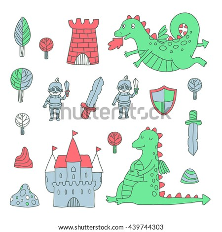 Knight and Dragon set. Vector illustration.
