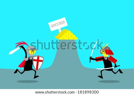 knight and samurai fight for gold (business concept) - stock vector