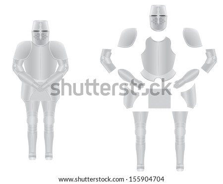 knight armor disassembled vector illustration isolated on background - stock vector