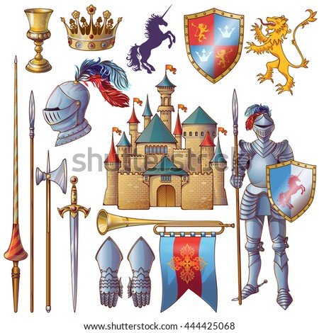 Knight decorative icons set with medieval castle golden goblet armour crown edged weapon shield isolated vector illustration - stock vector