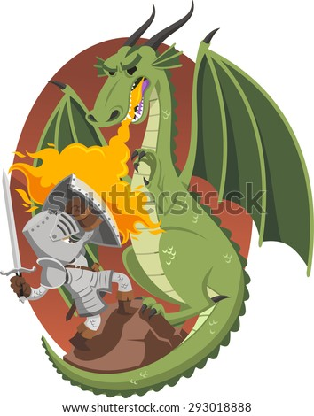 Knight fighting against dragon, vector illustration cartoon.  - stock vector