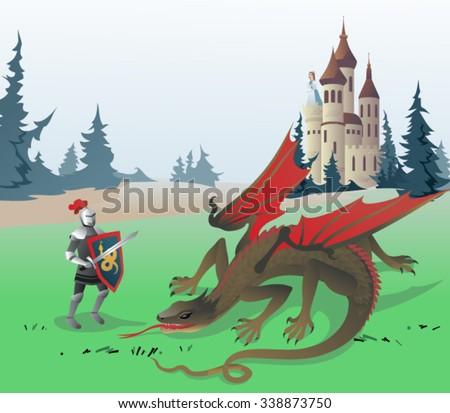 Knight fighting Dragon. The vector illustration of the Medieval Knight fighting Dragon to save the Princess locked in the Castle. Illustration based on Traditional Fairy Tales. No Transparency! - stock vector