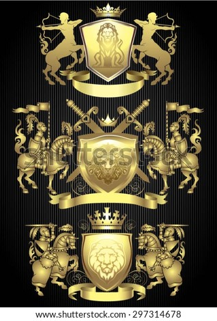 Knight gold heraldic set - stock vector