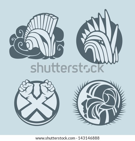 knight helmet logo template - stock vector