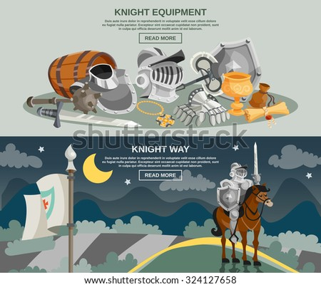 Knight horizontal banner set with medieval armor and weapon isolated vector illustration - stock vector
