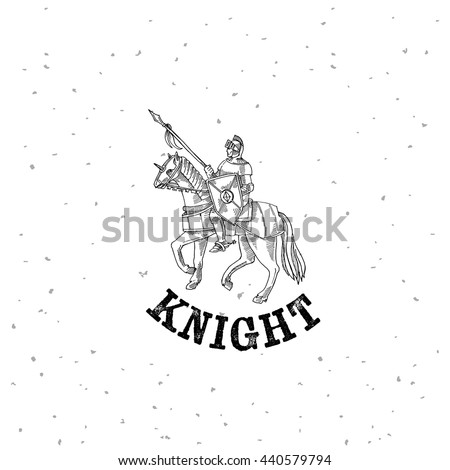 Knight in armor on a horse, medieval knight rider, gravure style rider War - stock vector
