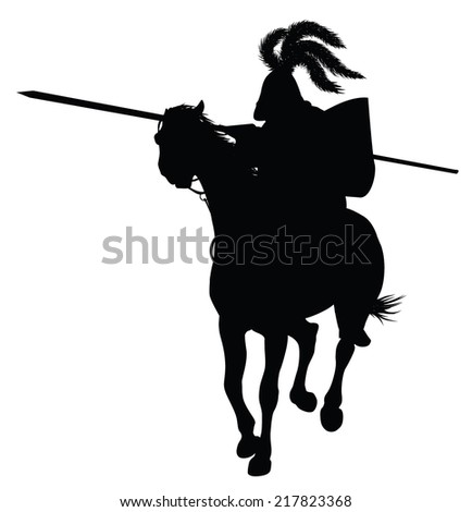 Knight in armour on  tournament. Vector silhouette - stock vector