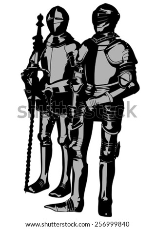Knight in period costume on a white background - stock vector