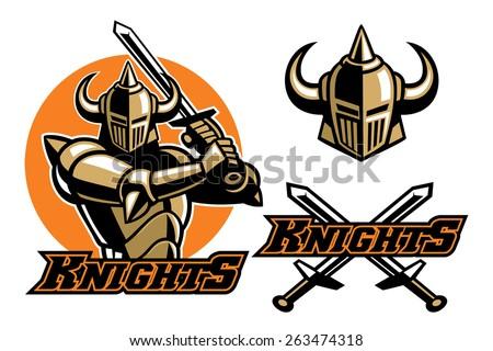 knight mascot swinging the sword - stock vector