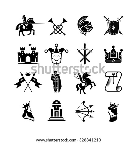 Knight medieval history vector icons set. Middle ages warrior weapons. Arrow and crown, clown and knight, kingdom and throne illustration - stock vector