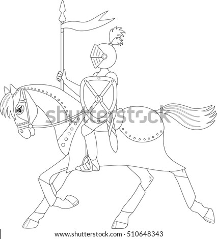 knight on a running horse coloring page - Running Horse Coloring Pages