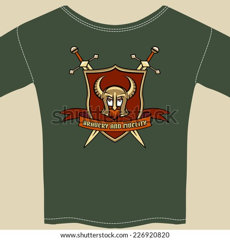 Knight or warrior theme tee shirt template with the head of a knight wearing a horned helmet in a shield with a banner  vector illustration - stock vector