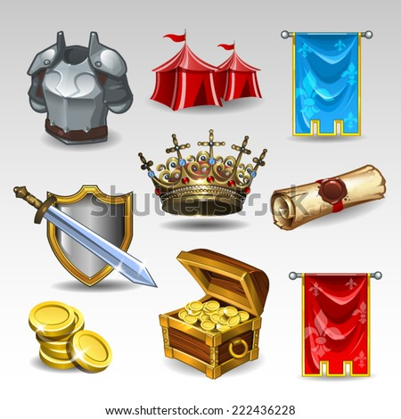 Knight set - stock vector