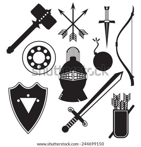 Knight set  icons include sword, bow, shields, helmet, arrows, sledgehammer, dagger, quiver, bomb. Medieval warrior equipment. Vector illustration - stock vector