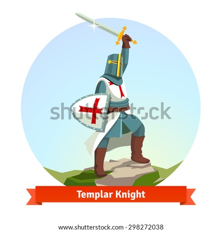 Knight Templar in armour with shield and sword. Flat vector illustration isolated on white background. - stock vector