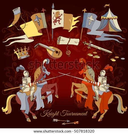 Knight tournament medieval frame medieval knight stock vector knight tournament medieval frame medieval knight on horse stopboris Choice Image
