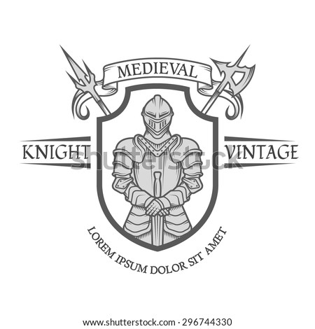 Knight warrior in armor with a sword. Heraldic emblem in the medieval style. - stock vector