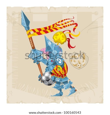 Knight with a spear, a ball and coat of arms, football, vector