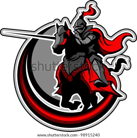 Knight with armor riding a horse and Jousting - stock vector