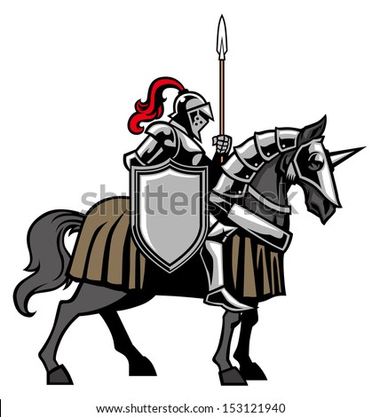 Knight with armored horse - stock vector