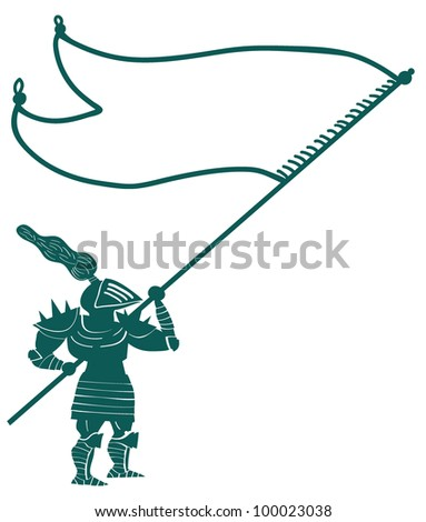 knight with flag - stock vector