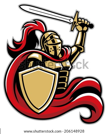 knight with shield and sword - stock vector