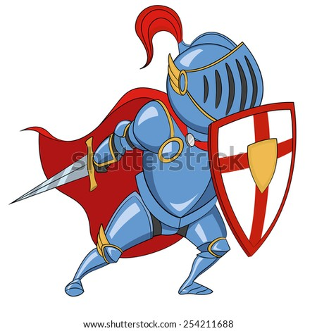 Knight with shield. Vector illustration. - stock vector