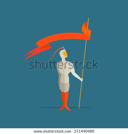 knight with spear and flag, banner. Vector illustration - stock vector