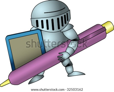 Knight with stylus and tablet.