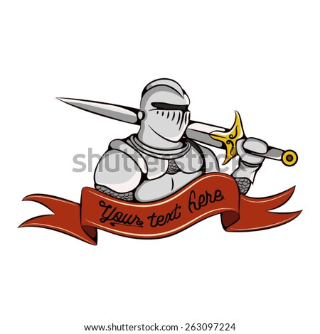 Knight with sword and ribbon logo. Warrior in white armor icon. - stock vector