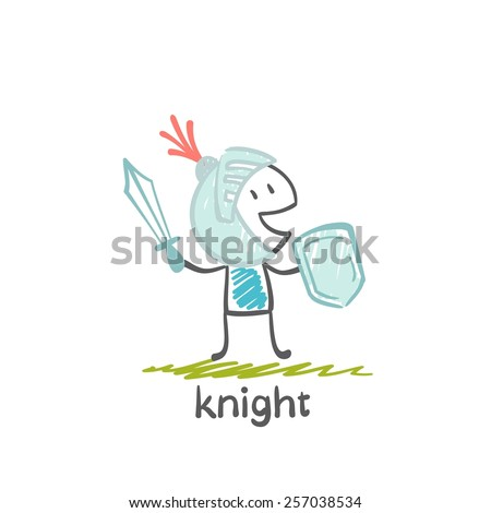 Knight with sword and shield, illustration - stock vector