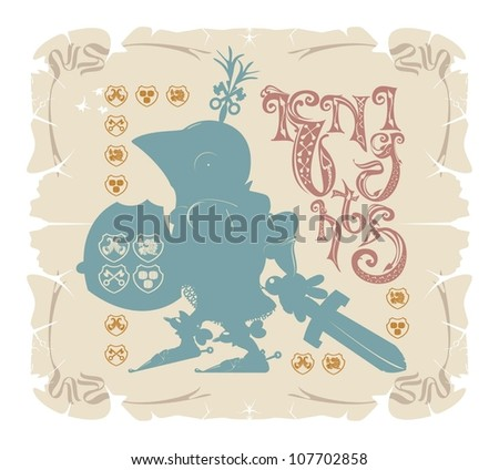 Knights book frame. Silhouette, vector - stock vector