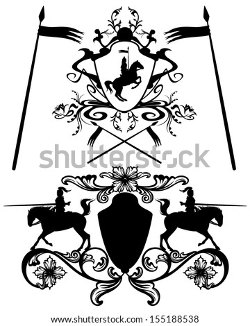knights heraldic design elements - black and white easy editable vector silhouettes - stock vector