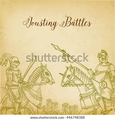 Knights in armor fighting on horseback. Warriors Crusaders fighting with each other. Engraving vintage illustration of the Battle of riders - stock vector