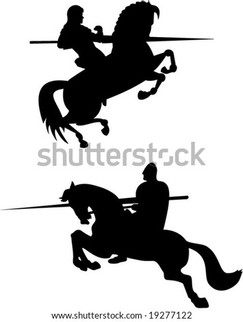 Knights with lances - stock vector