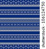 Knit texture. Fabric blue background with white ornament. Seamless vector pattern eps10. Raster file included in portfolio - stock vector