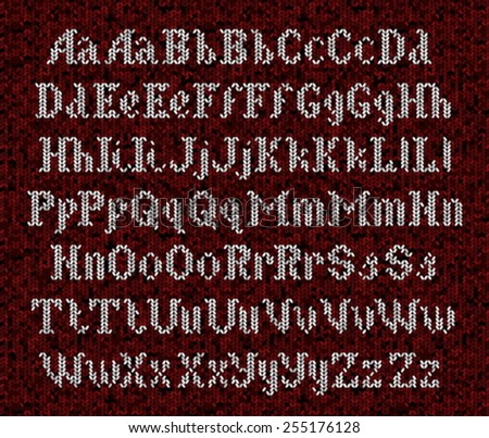 Knitted alphabet, white font on red background  - stock vector