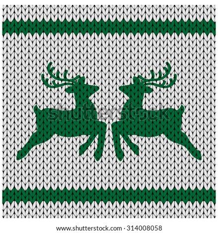 knitted background with deer  - layered to remove deer for full blank knitted background  - stock vector